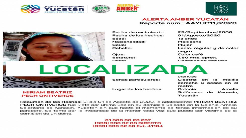Localizan a menor reportada como desaparecida en Kanasín